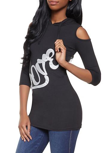 Love Graphic Cold Shoulder Sweatshirt,BLACK,large