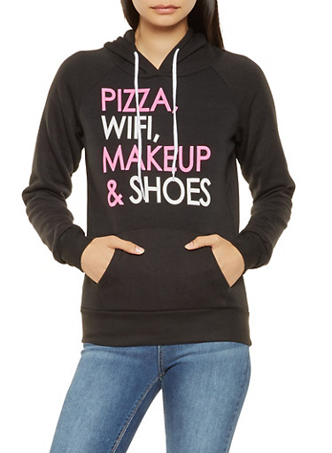 Graphic Hooded Sweatshirt,BLACK,large