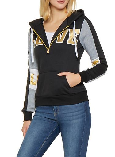 Love Graphic Half Zip Sweatshirt,BLACK,large