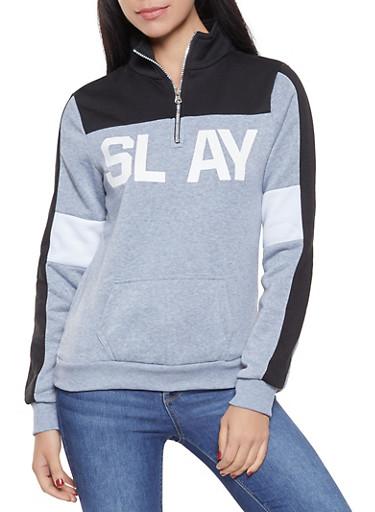 Color Block Graphic Sweatshirt,HEATHER,large