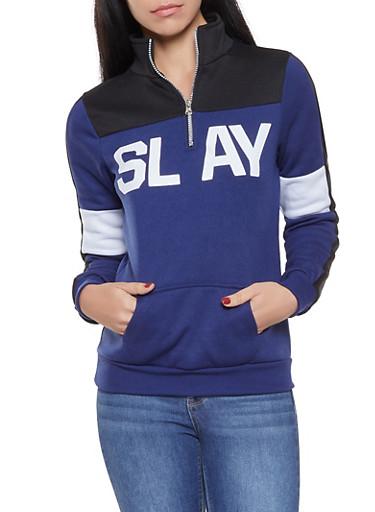 Color Block Graphic Sweatshirt,NAVY,large