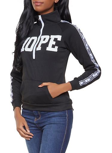 Graphic Half Zip Sweatshirt,BLACK,large