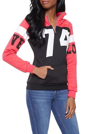 Graphic Color Block Sweatshirt,BLACK,large
