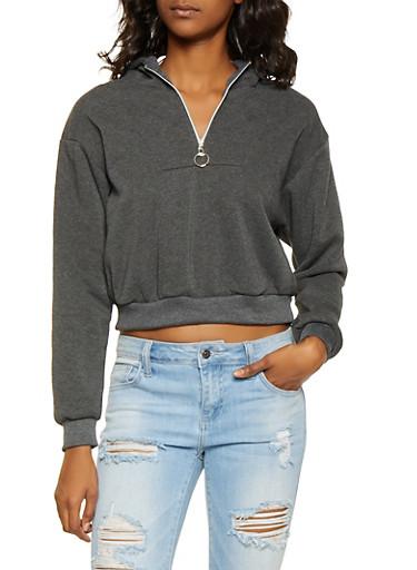 Zip Neck Sweatshirt,CHARCOAL,large