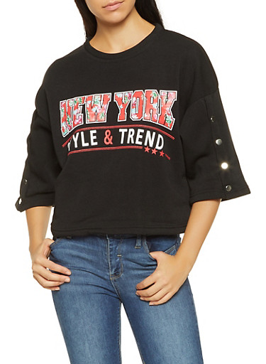 Graphic Bell Sleeve Sweatshirt,BLACK,large