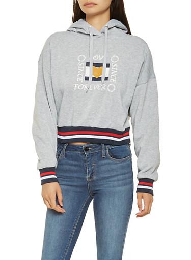 Graphic Hooded Sweatshirt,GRAY,large