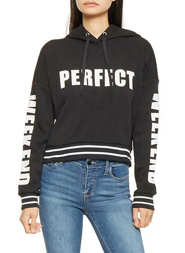 Graphic Hooded Sweatshirt,BLACK,large