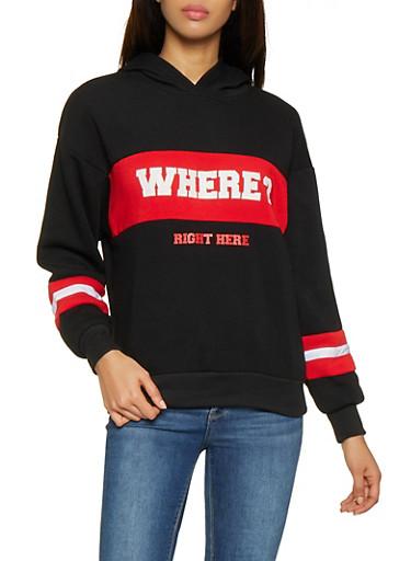 Where Graphic Color Block Sweatshirt,BLACK,large