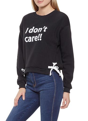 Lace Up Side Graphic Sweatshirt,BLACK,large