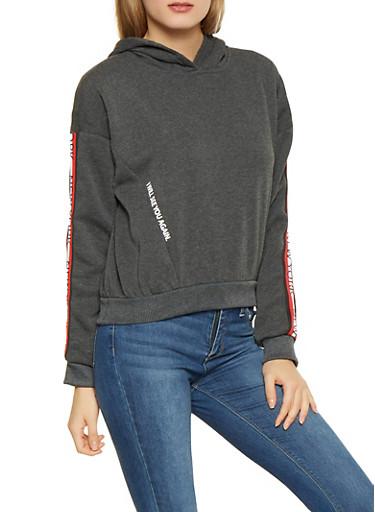 New York Graphic Tape Trim Sweatshirt,CHARCOAL,large