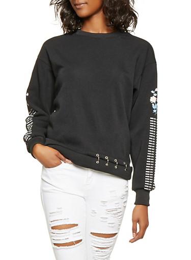 Graphic Sleeve Sweatshirt,BLACK,large