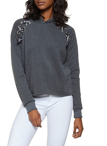 Graphic Ribbon Lace Up Sweatshirt,CHARCOAL,large