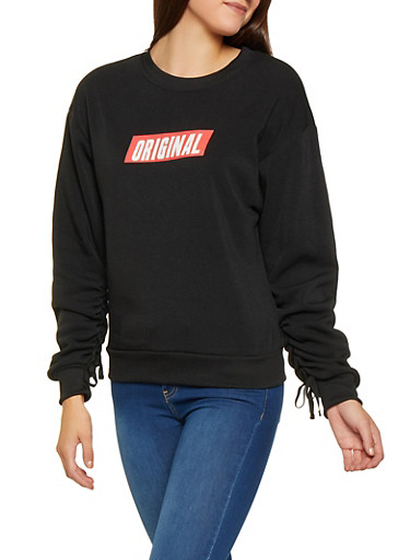 Graphic Ruched Sleeve Sweatshirt,BLACK,large