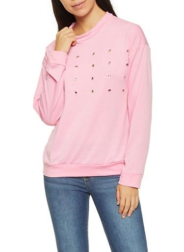 Grommet Detail Long Sleeve Top,PINK,large
