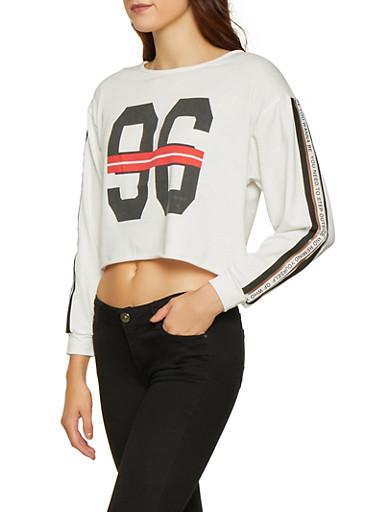 Elastic Tape Sleeve Graphic Sweatshirt,WHITE,large