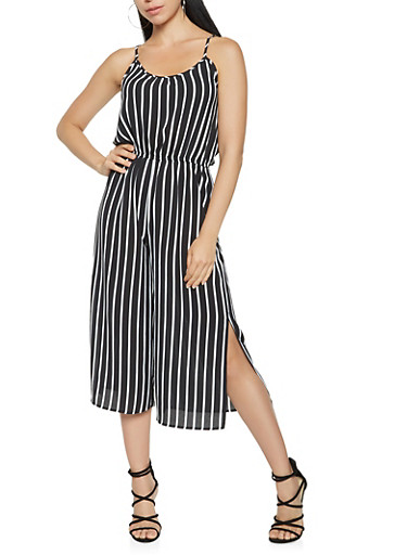Striped Wide Leg Cropped Jumpsuit,BLACK/WHITE,large