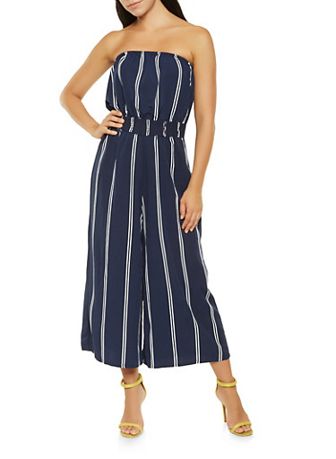 Striped Cropped Tube Jumpsuit,NAVY,large