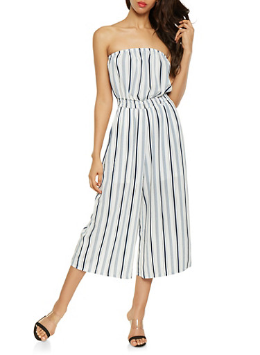 Striped Cropped Tube Jumpsuit,IVORY,large