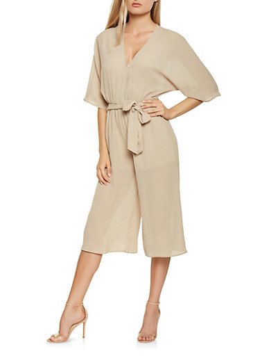 Faux Wrap Wide Leg Jumpsuit,KHAKI,large