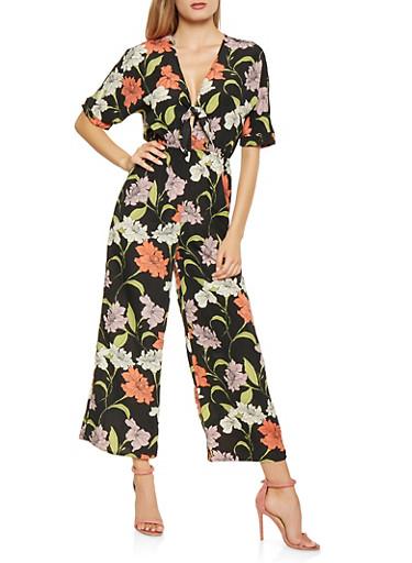 Floral Tie Front Jumpsuit,BLACK,large
