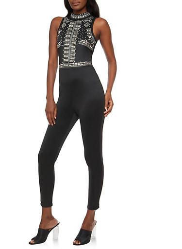 Sleeveless Rhinestone Studded Jumpsuit,BLACK,large