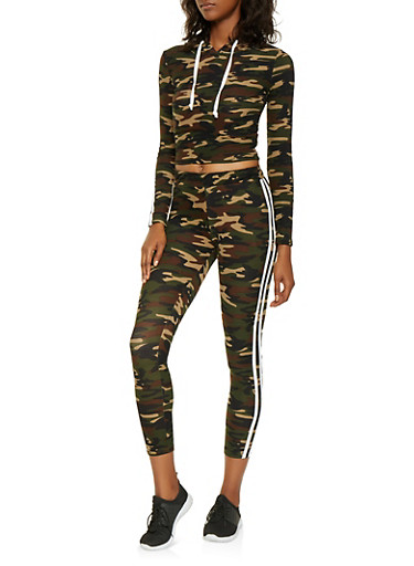 Hooded Camo Top and Leggings Set,OLIVE,large