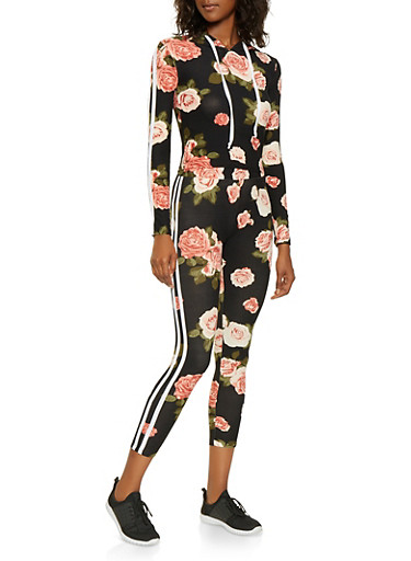 Hooded Floral Top with Leggings,BLACK,large