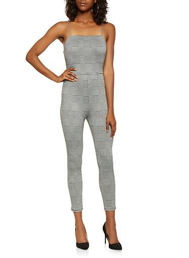 Plaid Jumpsuit,BLACK/WHITE,large