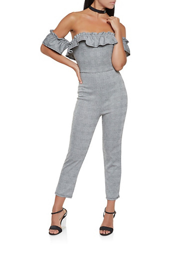 Plaid Off the Shoulder Jumpsuit,BLACK/WHITE,large
