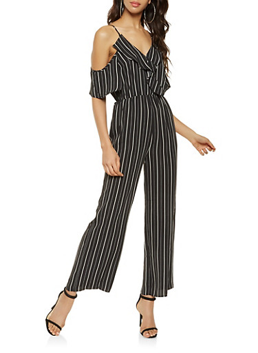 Striped Cold Shoulder Palazzo Jumpsuit,BLACK/WHITE,large