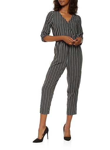 Printed Faux Wrap Jumpsuit,BLACK/WHITE,large