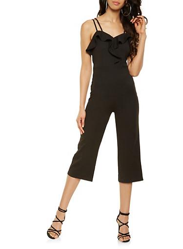 Ruffle Trim Cropped Jumpsuit,BLACK,large