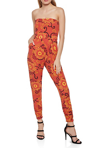 Floral Tube Ruched Jumpsuit,RUST,large