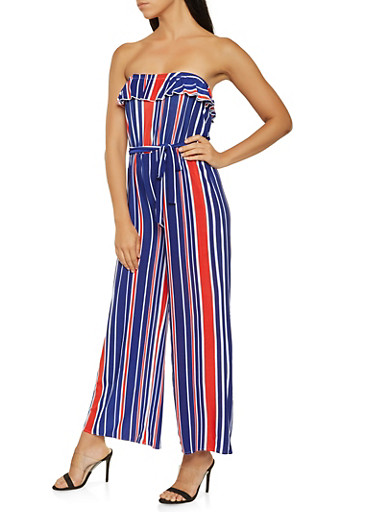 Striped Strapless Wide Leg Jumpsuit,NAVY,large