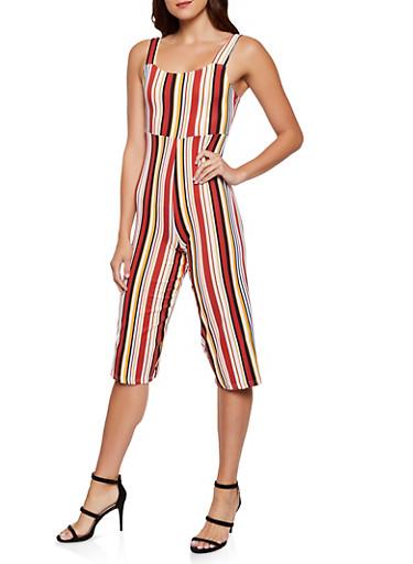 Striped Soft Knit Capri Jumpsuit,RUST,large