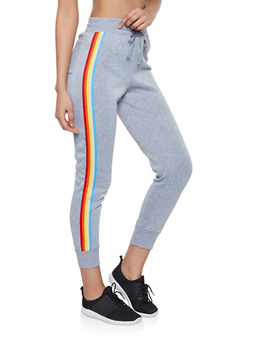 Striped Tape Trim Joggers,HEATHER,large