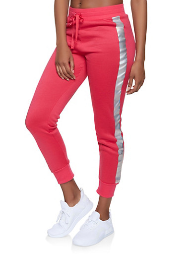 Iridescent Side Stripe Joggers,RED,large