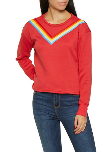 Rainbow Striped Tape Sweatshirt,RED,large