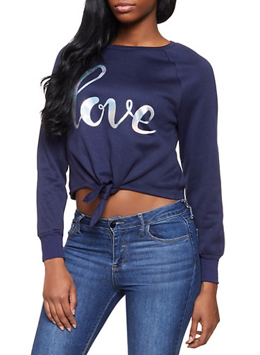 Lace Up Sweatshirt,NAVY,large