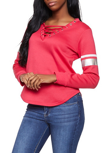Lace Up Sweatshirt,RED,large