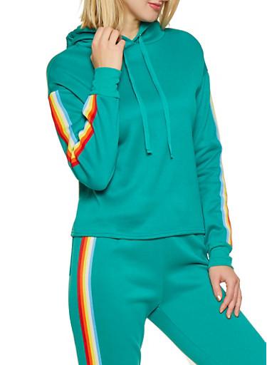 Striped Tape Trim Sweatshirt,GREEN,large
