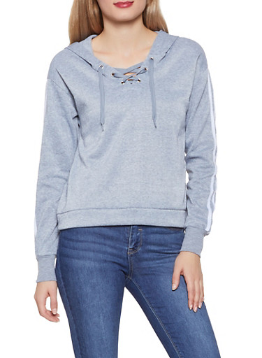 Lace Up Varsity Stripe Sweatshirt,HEATHER,large