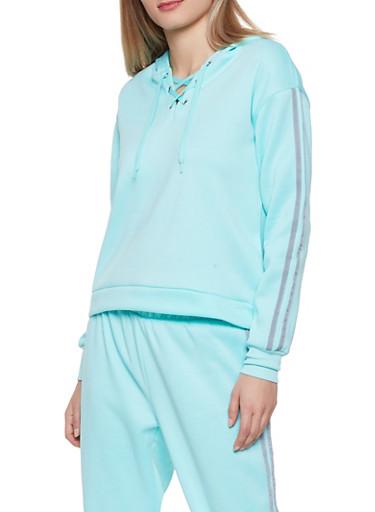 Lace Up Varsity Stripe Sweatshirt,MINT,large