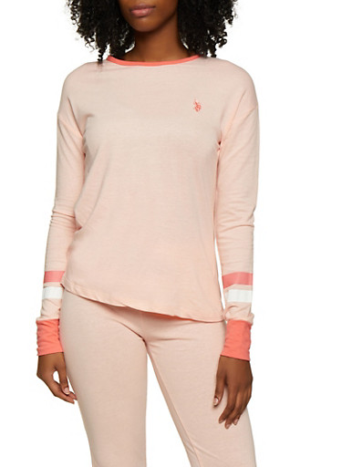 French Terry Varsity Stripe Detail Top,PINK,large
