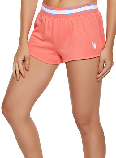 Striped Trim Dolphin Shorts,CORAL,large