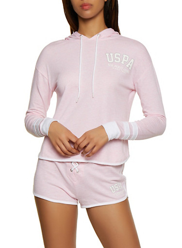 Contrast Trim French Terry Hooded Top,PINK,large