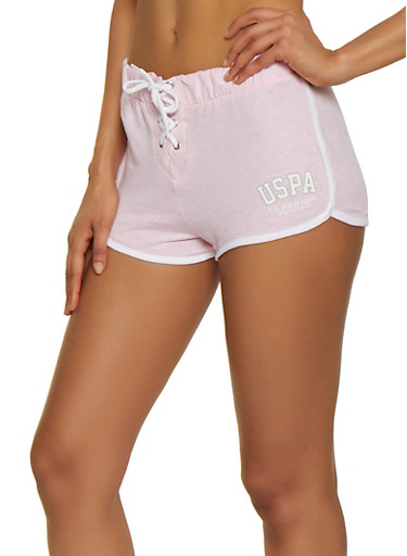 Lace Up Contrast Trim Dolphin Shorts,PINK,large