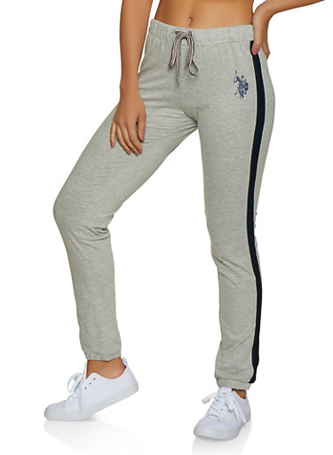 Side Stripe Joggers,HEATHER,large