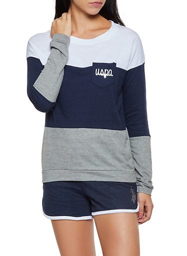 Color Block French Terry Top,NAVY,large