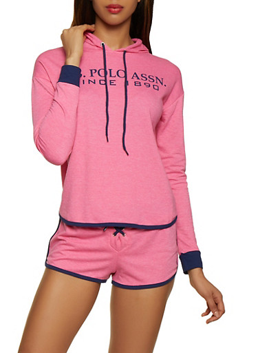 Contrast Trim French Terry Lined Sweatshirt,PINK,large
